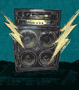En retro illustration av en gitarrförstärkare