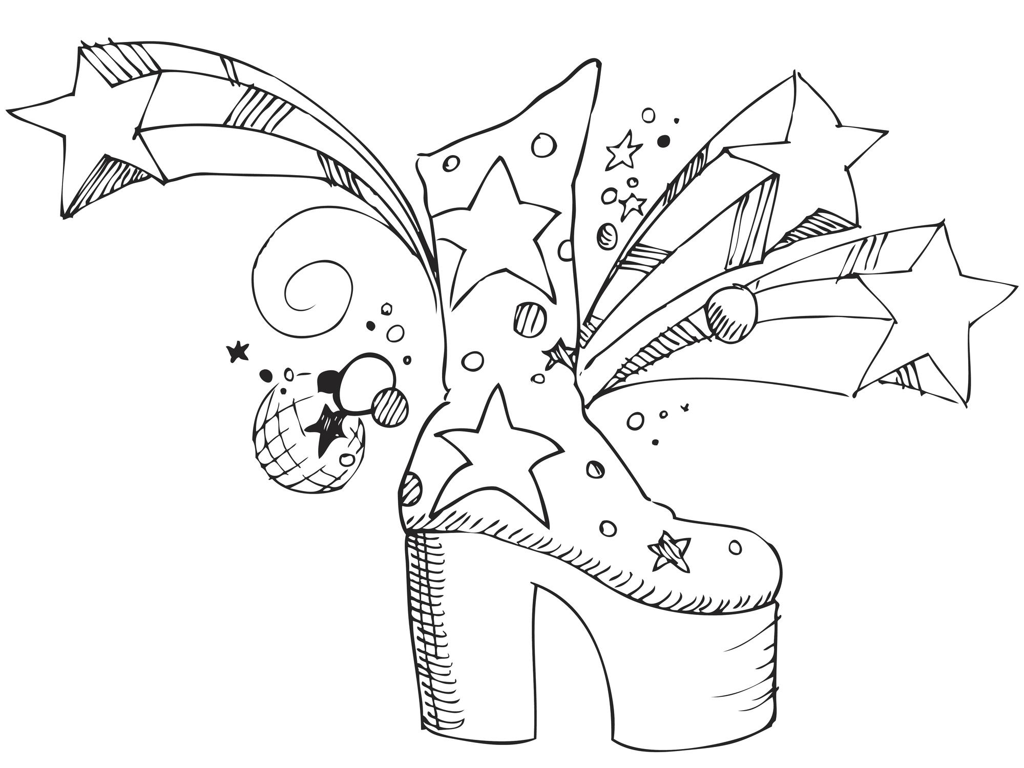 En ritad Glamrock sko